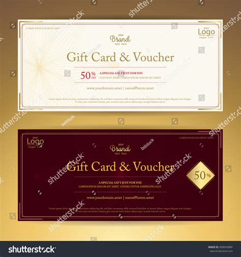 voucher card template gift voucher gift card coupon stock vector