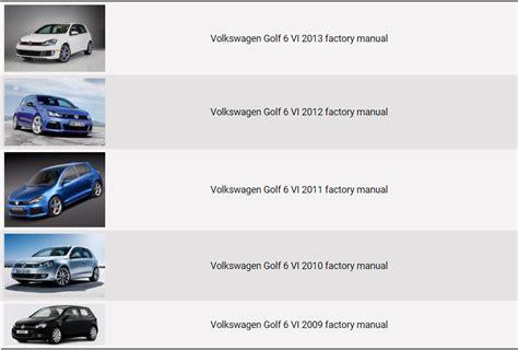 volkswagen golf 6 vi 2009 2013 repair manual factory manual