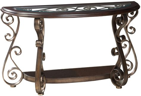 84 Scroll Metal And Glass Top Dining Table Tables World Sofa Table With Glass Top And S Scroll Legs By Standard Furniture Wolf And Gardiner
