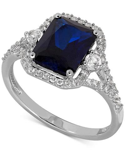 Blue Sapphire 12 3 Ct lab created sapphire 3 ct t w and white sapphire 3 8