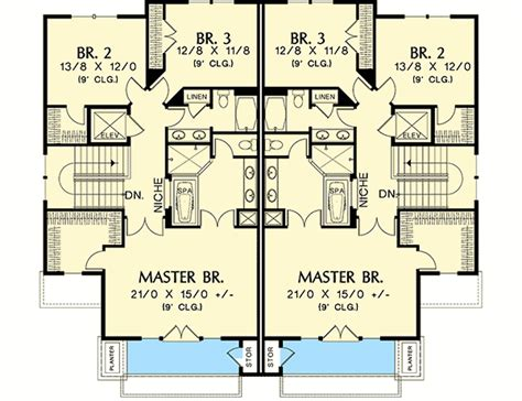 multifamily house plans plan 69111am hillside multi family home plan metal deck