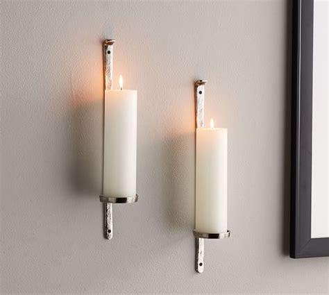 Wall Pillar Candle Holders by Artisanal Wall Mount Candleholder Silver Pottery Barn