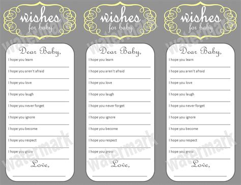 baby shower wish cards template 5 best images of free printable baby wishes template