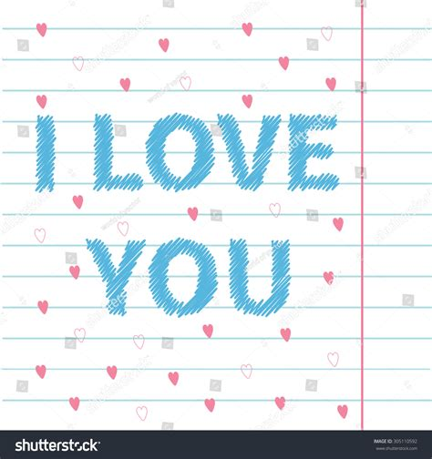flat design text effect love you scribble effect text on stock vector 305110592