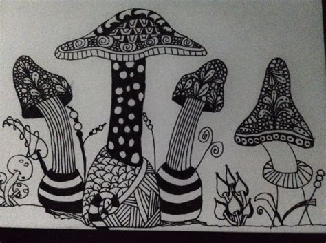 zentangle pattern fungees 42 best zentangle mushrooms images on pinterest