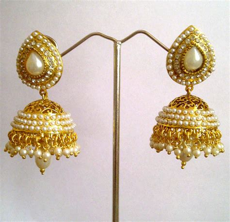 design earrings online ethnic pearl jhumka earrings with white stones by adiva