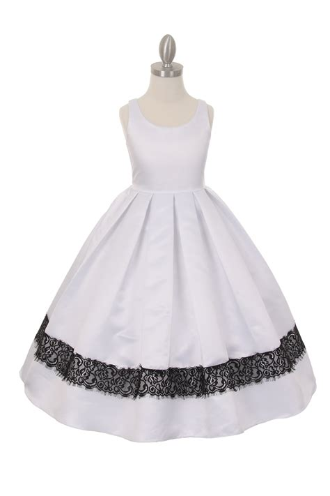ivory lace trim flower girl dress