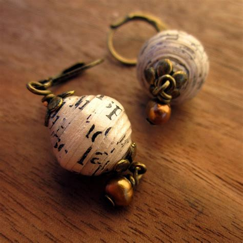 Paper Earrings - earrings recycled paper bead and pearl dangle gossamer words