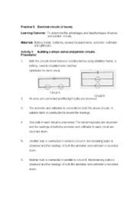 series parallel circuits lab report teaching worksheets reading comprehension