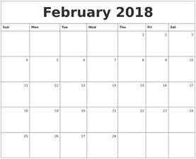 2018 Daily Calendar February Calendars