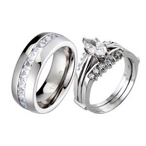 titanium wedding ring sets 3 sterling silver titanium cz cubic zirconia womens wedding ring sets ebay