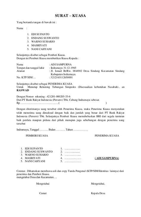 format surat kuasa bank bri suarat kuasa bank bri