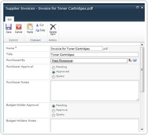 sharepoint invoice approval workflow simple sharepoint workflow pentalogic