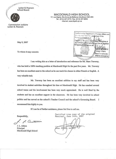Recommendation Letter To From Principal Letter Of Recommendation For Principal Free Resumes Tips