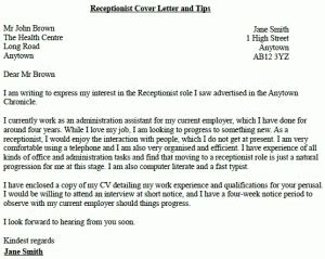 receptionist job application cover letter