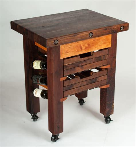 hand made walnut and cherry butcher block island wine rack by walnut wood works custommade com