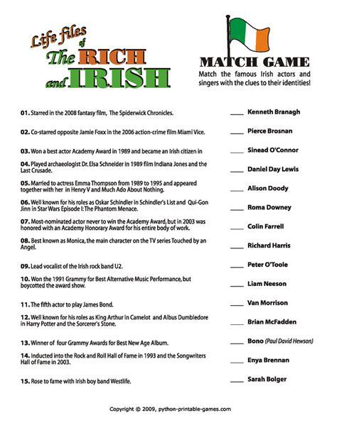 list of questions for celebrities irish celebrities irish trivia game games pinterest