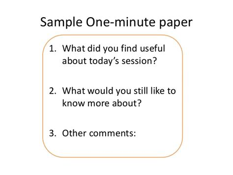 minute paper template engaging students part four the minute paper active