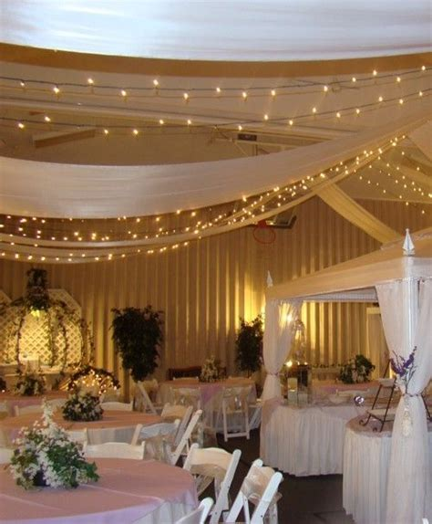 Twinkle lights and gold chiffon/light fabric hanging over