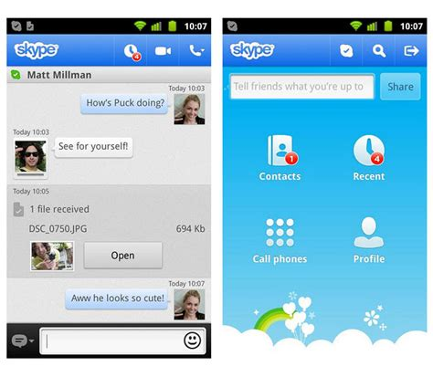 skype on android skype android app updated with media