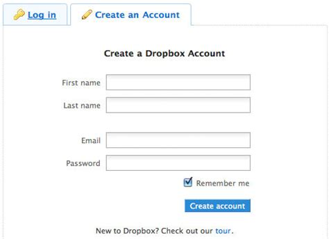 dropbox register login registration form ideas and beautiful exles