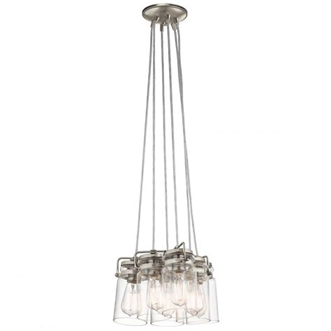 goodmart lighting new york 6 pendant light cluster on nickel fitting with clear glass