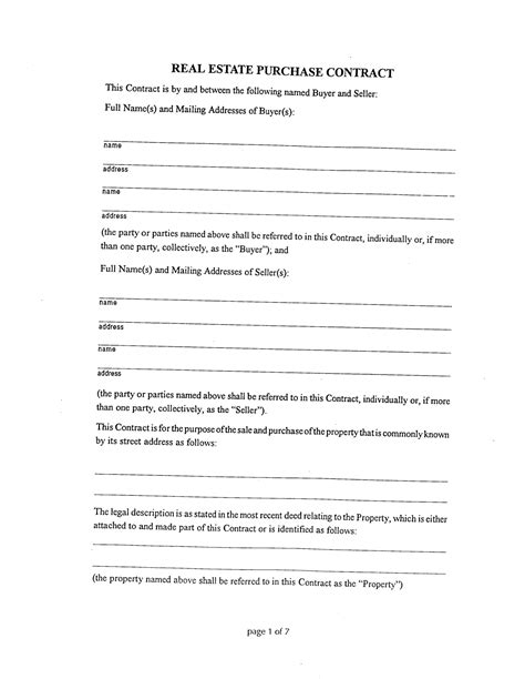 Editable Real Estate Purchase Blank Contract Template Sle With Buyer And Seller Detail Real Estate Purchase Agreement Template