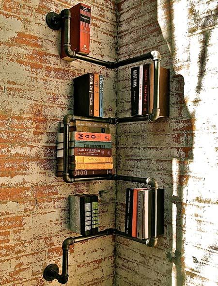 Industrial Floor L Bookshelf By Stella Bleu Designs by Corner Pipes Bookshelf Arts Crafts And Design Finds