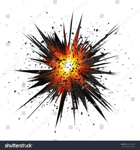 Black Isolated Vector Star Explosion With Particles On ... Explosion White Background