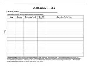 Autoclave Log Template by Autoclave Log Sle In Word And Pdf Formats