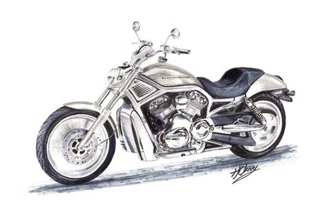 Harley Davidson Drawings by Harley Davidson V Rod By Terence Cleary