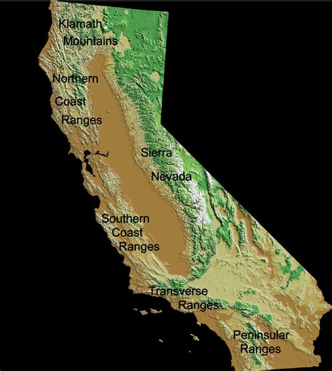 physical map of california mountain ranges california