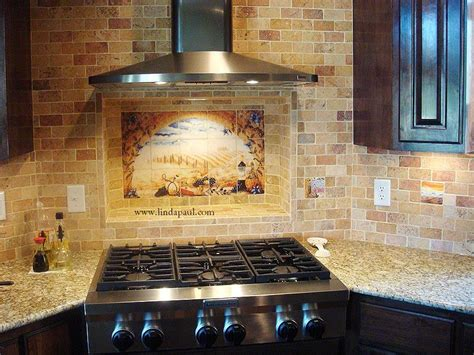 tiled kitchen backsplash italian tile murals tuscany backsplash tiles