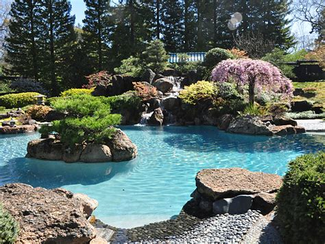 Garden Pools Garden With Pool Home Design Inside