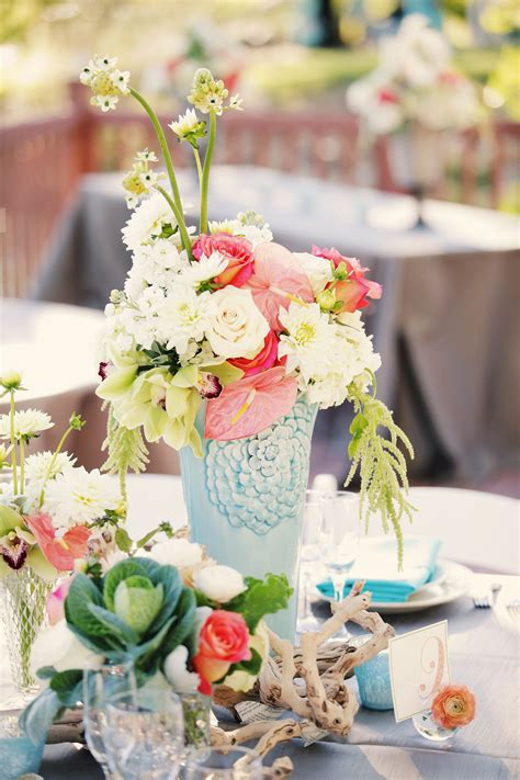 beachy coral and aqua floral centerpieces
