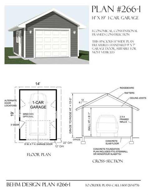 triad 1 car garage plans 1 car garage plan 266 1 by behm design garage plans by