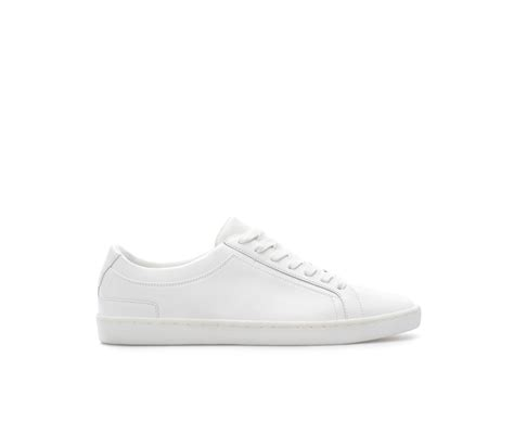 white leather sneakers zara leather sneaker in white for lyst