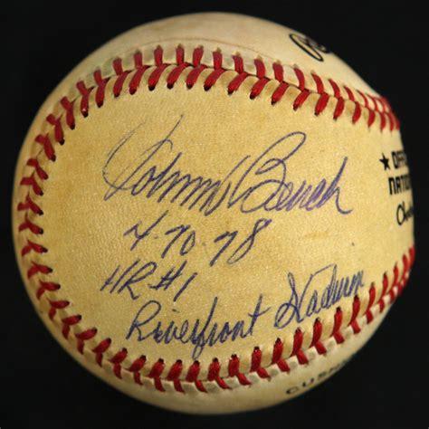 johnny bench signed baseball worth lot detail 1984 86 johnny bench cincinnati reds signed