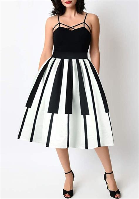 white black patchwork pleated zipper high waisted