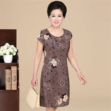 Eledy Dress 100 silk print dresses middle aged quinquagenarian clothing one dresses for
