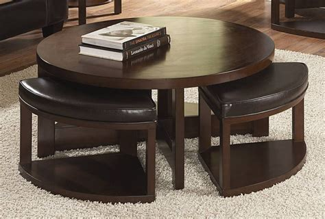 coffee table with nesting ottomans round coffee table w 4 nesting ottomans in wood leather