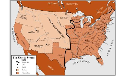 1850 map of united states the united states in 1850