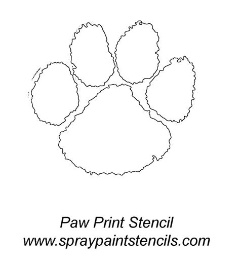 coloring page tiger paw spray paint stencils panther paw print stencil outline