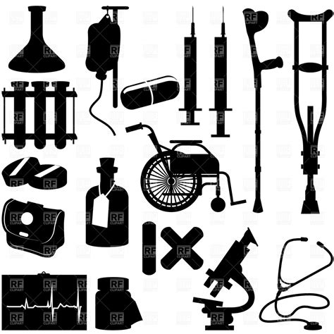 health icons silhouette of equipment royalty