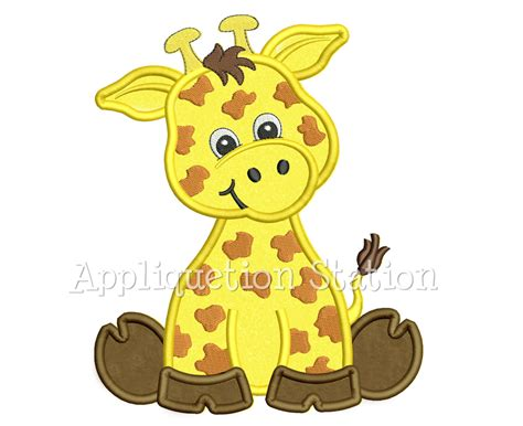 cartoon forest animals giraffe pattern baby girl clothes a zoo baby giraffe applique machine embroidery design cute