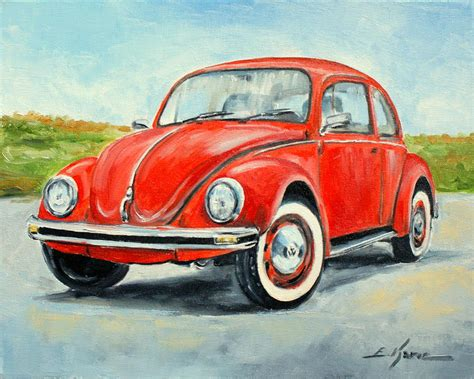 volkswagen painting vw beetle painting by luke karcz