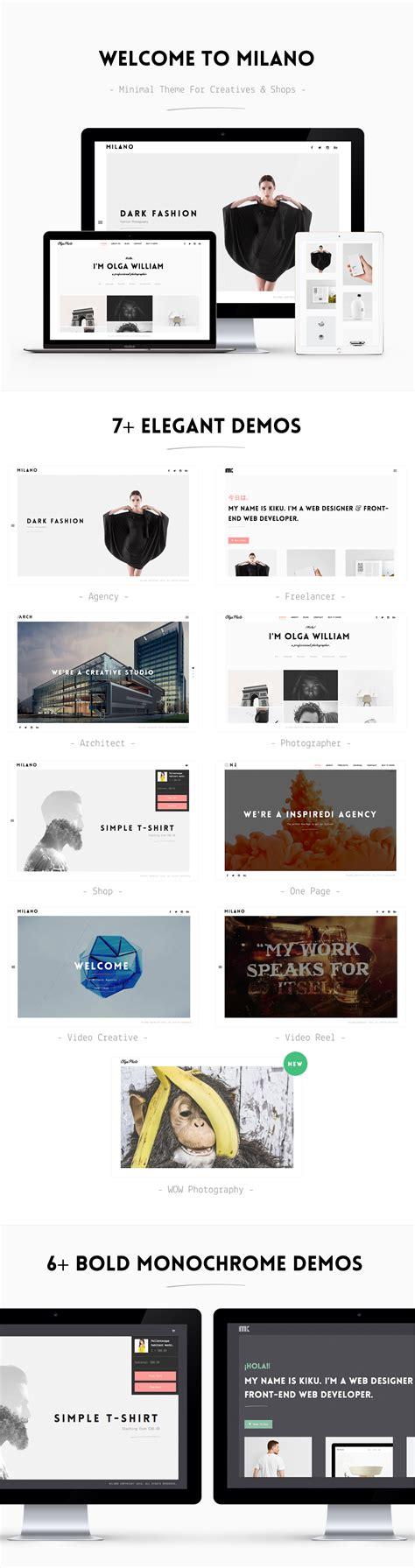 wordpress themes live preview milano creative minimal wordpress theme portfolio