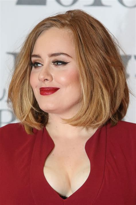 Adele Hairstyles by Adele Medium Brown All Highlights Blunt Cut