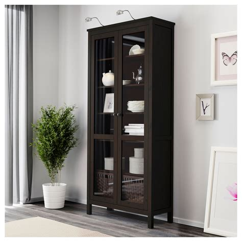 Black Glass Door Cabinet Hemnes Glass Door Cabinet Black Brown 90x197 Cm Ikea