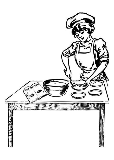 kleurplaat kokkin afb